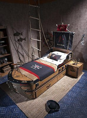 Captains Bed   Black Pirate Ship Bed For Kids   Boys Bedroom Furniture Twin  Wood