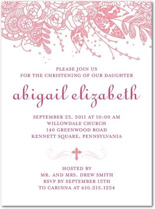 Baptism, Christening Invitations Floral Christening - Front : Watermelon