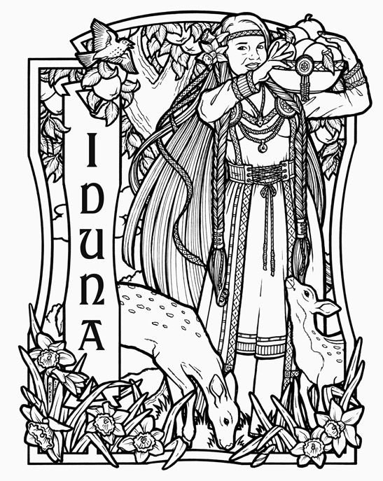Iduna norse goddess of spring and rejuvenation 2010 for Norse mythology coloring pages