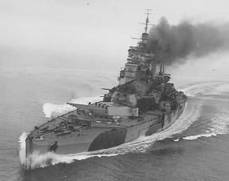 Home Fleet flagship 14 in HMS King George V in 1941, the year she and HMS Rodney sent the German battleship Bismarck to the bottom of the Atlantic. Her sister Prince of Wales was heavily damaged in the preceding Denmark Straits engagement which resulted in the loss of the famous battlecruiser HMS Hood.