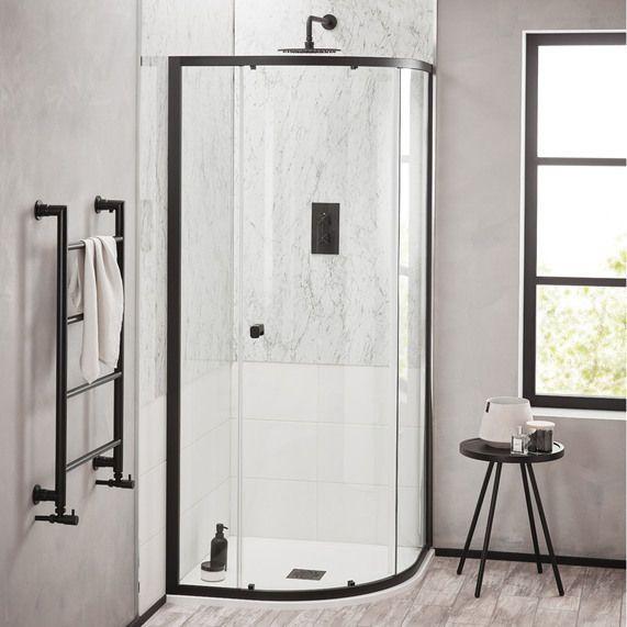 Noir 800mm Matt Black Quadrant Shower Enclosure Quadrant Shower