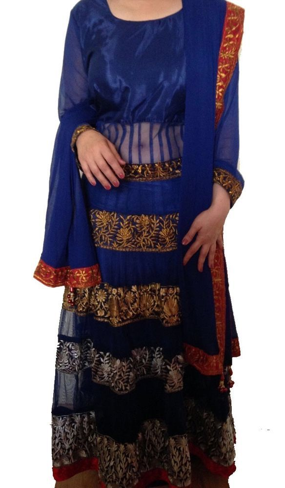 Buy from our eBay shop or whatsapp 9718721059 Multicolour Blue Net and Shantoon Anarkali Semistitched Party Suit UrbanBuy