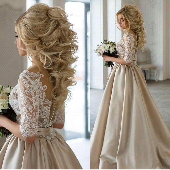 Champagne Wedding Dress Champagne Prom Dress Prom Dress With Sleeves Ball Gown Prom Dress M Wedding Dress Champagne Satin Wedding Gown Wedding Dresses Simple