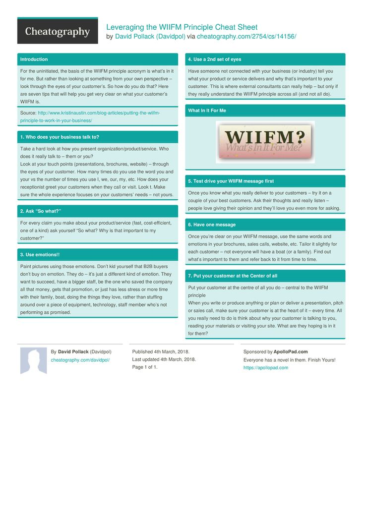 Leveraging the WIIFM Principle Cheat Sheet by Davidpol http://www.cheatography.com/davidpol/cheat-sheets/leveraging-the-wiifm-principle/ #cheatsheet #business #marketing #principle #leverage #wiifm