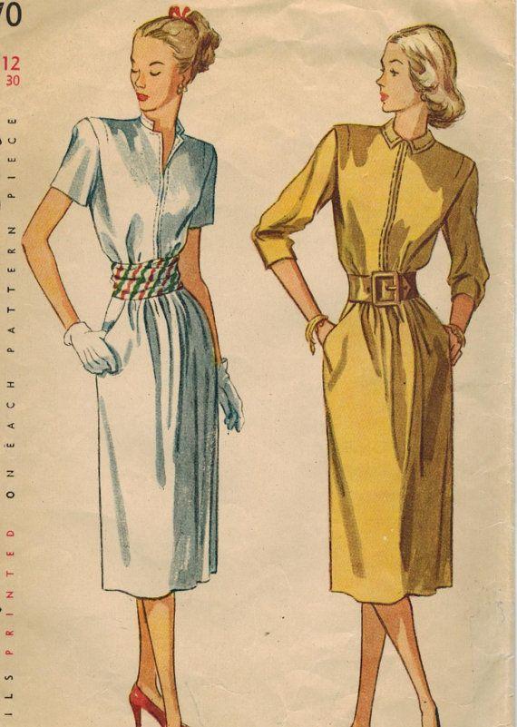 1940s eenvoud 2070 Vintage naaien patroon missers middag Dress grootte 12 buste 30