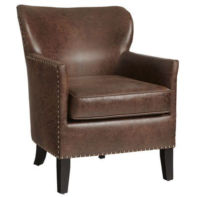 Everybody loves Lyndon. Inspired by a Paris flea market find, this classic easy chair is all worn faux leather, comfy wraparound wingback, high padded armrests and nailhead trim. Traditional extended seat cushion supplies added leg support. All hand-upholstered on a sturdy hardwood frame.