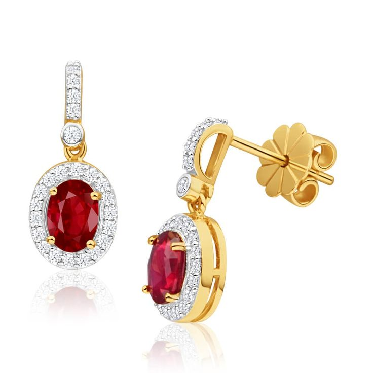 Fiery Natural Ruby and Diamond halo Drop Earrings. Great idea for 40th anniversary gifts or July birthstone presents.