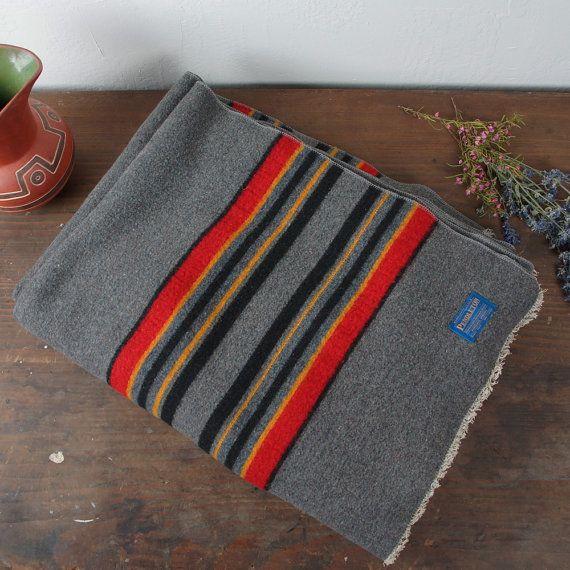 Vintage Pendleton Wool Camp Blanket Stripe Pattern By