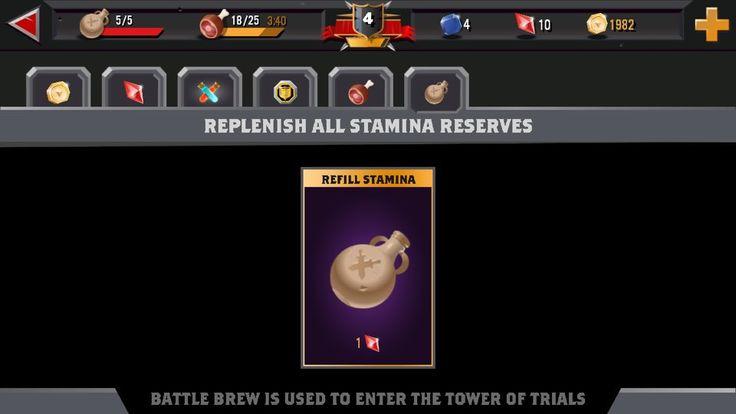 World of Warriors - shop, stamina2
