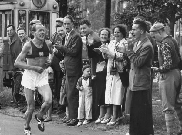 Emil Zatopek, Czechoslovakia,  en route to the gold medal in the marathon, 1952 Olympic Games~ Helsinki, Finland by Nat Farbman