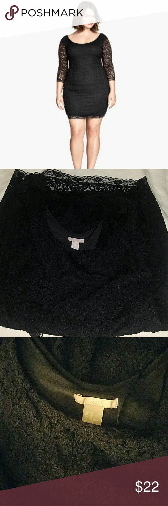 H&M black lace dress beautiful black plus size lace dress with sleeves.  Worn once. H&M Dresses
