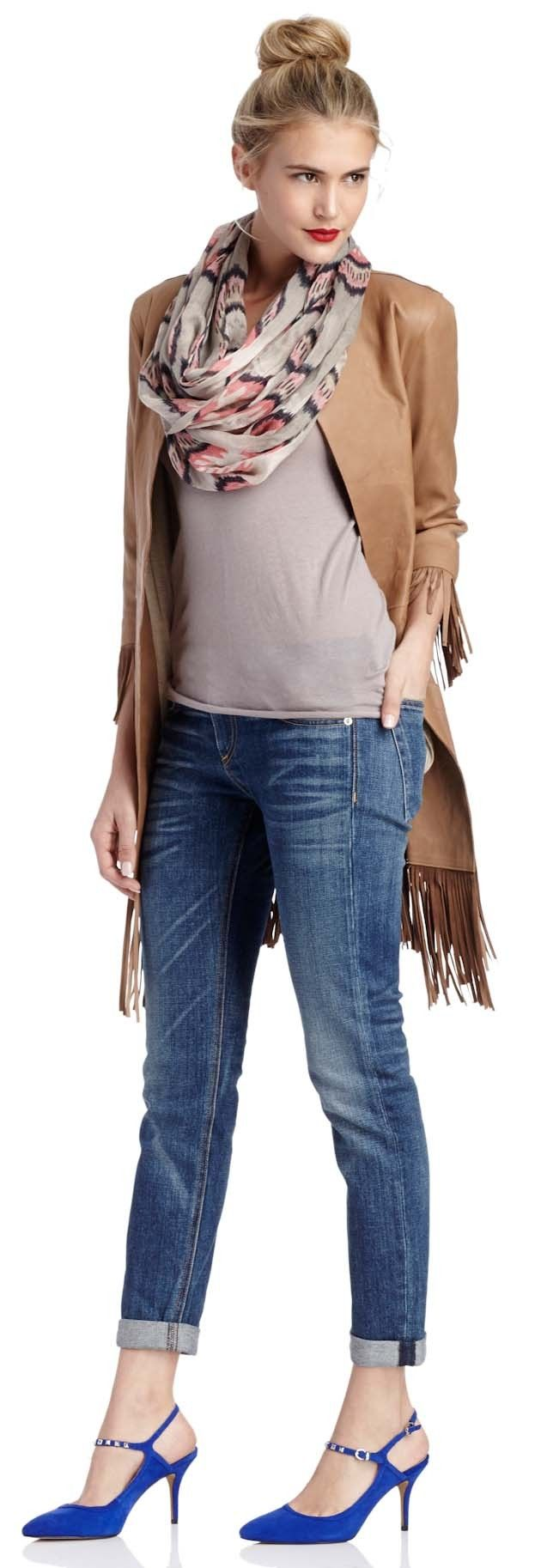 "Sole Society ""Shop the Look"" - scarf, long fringe jacket, jeans, t-shirt and great blue slingback mid heel shoes!  Love the whole outfit!"