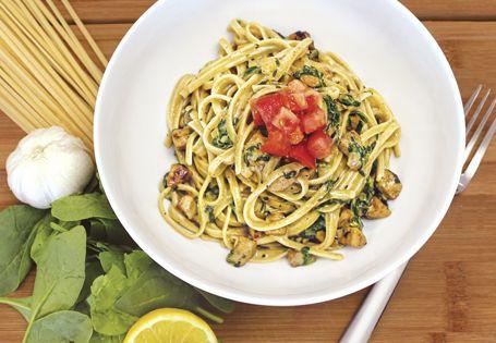 A healthier take on indulgent pasta: Spinach Cream Sauce with Turkey Italian Sausage over Linguine. #AldiFresh