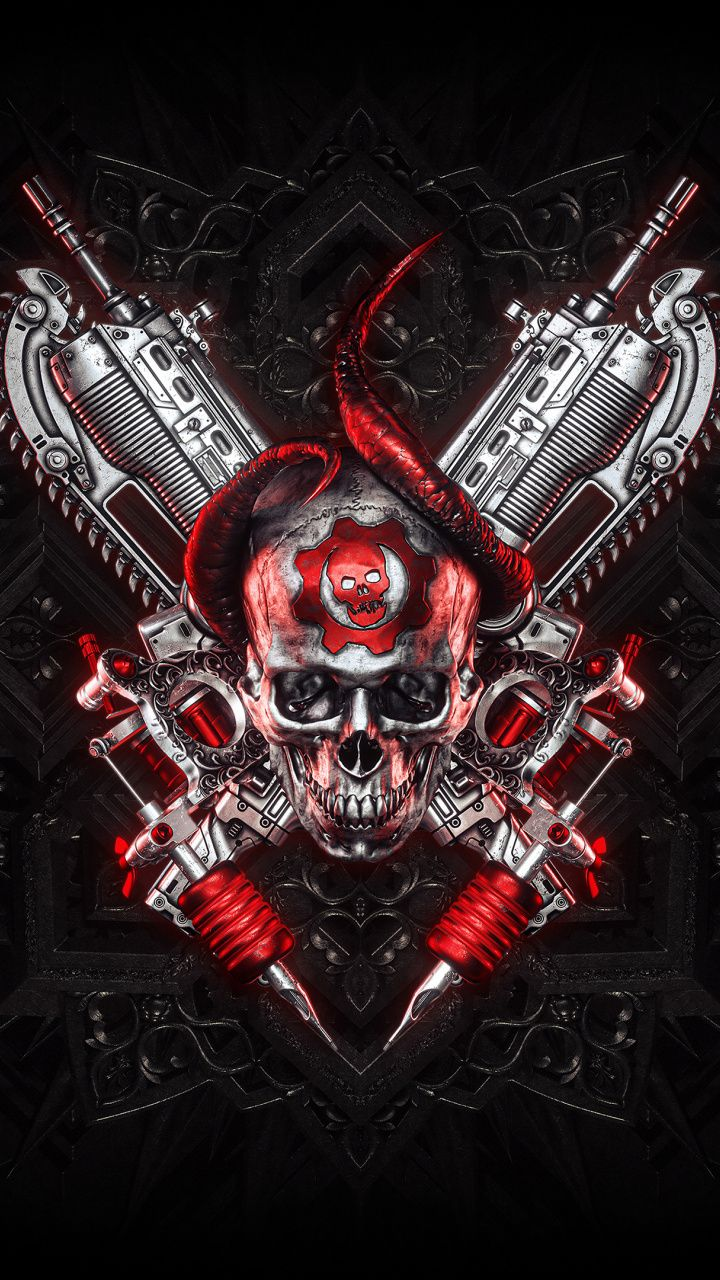 Download 720x1280 Wallpaper Gears Of War Skull And Guns Logo Samsung Galaxy Mini S3 S5 Neo Alpha Sony Xperia Guns Wallpaper Gears Of War Skull Wallpaper Skull tattoo 4k wallpaper