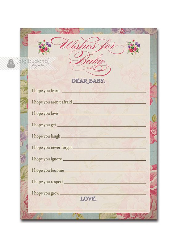 Wishes for Baby Card Vintage Rose Shabby Chic Floral Advice Cards Baby Shower Game Favor Girl Printable File or Printed - Jackie Style