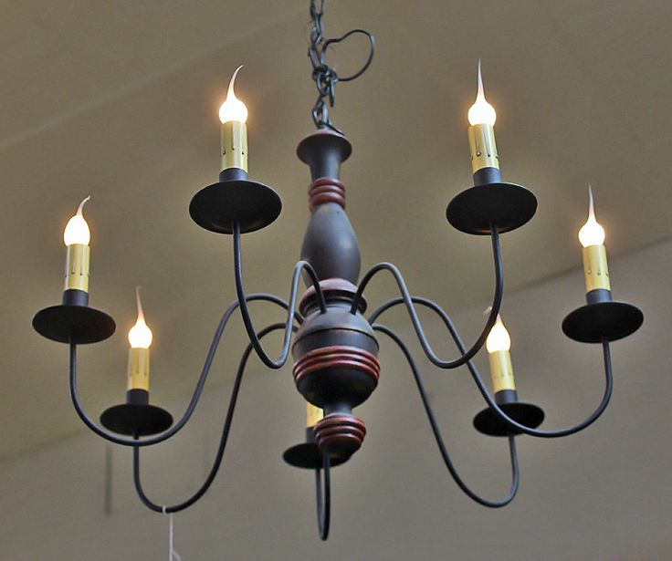 Black Chandelier with Wooden Base - 8 Lights