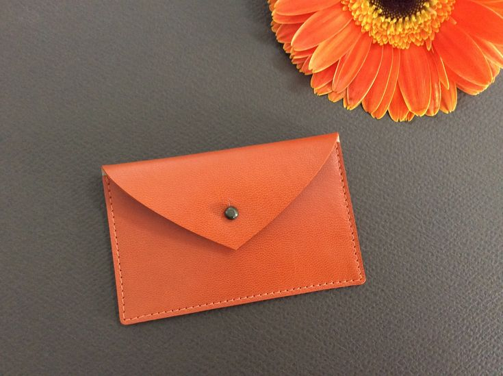 Orange Card Holder. Women. Leather credit card holder. Envelope wallet. Leather business card case.Minimal leather wallet.Id card holder.NEW