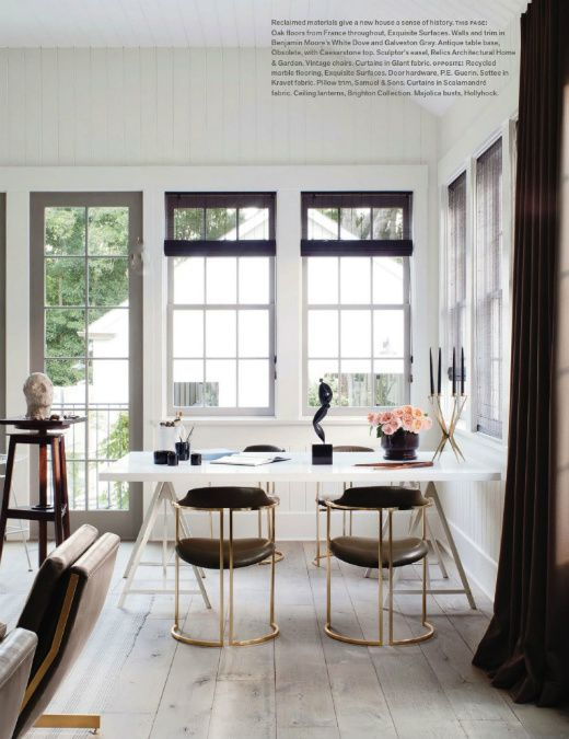 Modern dining room. Love the mid-century chairs and sleek white table.