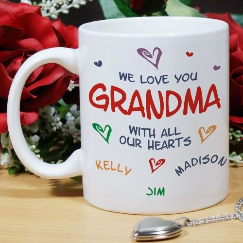 All Our Hearts Personalized Coffee Mugs. Give a personalized gift that your Grandma, Mom, Sister or Best Friend will absolutely love and cherish. Give a Personalized Grandma Coffee Mug and share your heartfelt love & commitment you feel for her. All our hearts belong to Mom with our Personalized Mom Coffee Mug. Our Personalized Ceramic Coffee Mug is Dishwasher safe and holds 11 oz. Includes FREE Personalization! Personalize your Coffee Mug with any title and up to 30 names.
