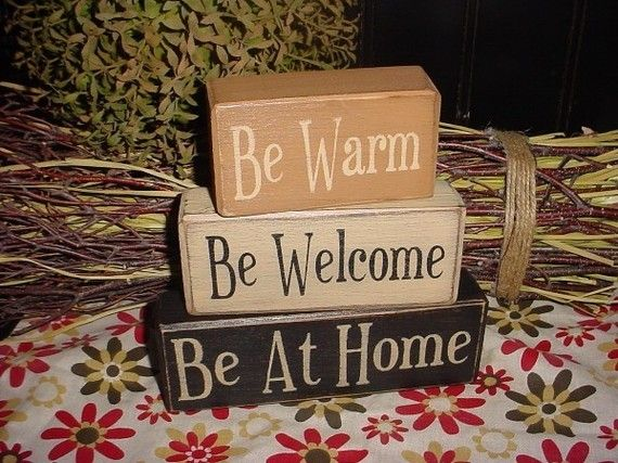 Be Warm Welcome At Home By The Sea Home Family Blessings Wood Sign Blocks Primitive Country Rustic