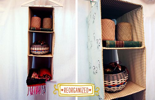 Need to get organized? Here's a tutorial on how to make fabric hanging shelves.