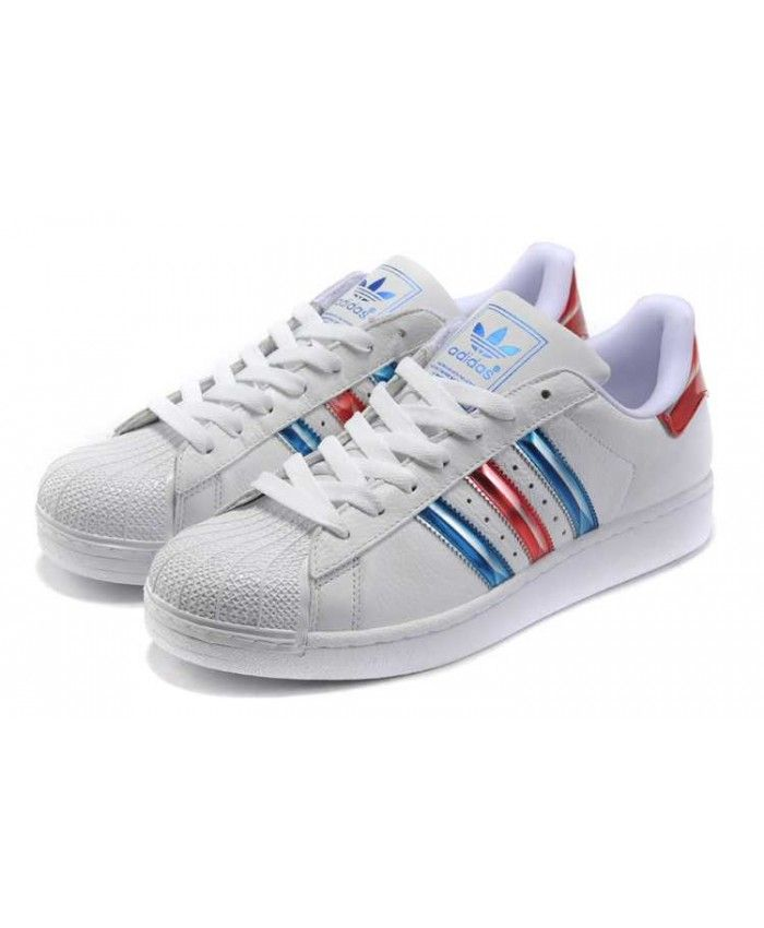 wholesale dealer 23efd fd628 Adidas Superstar Junior White Metallic Red Blue Trainers