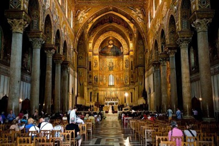 interior of Duomo di Monreale, cathedral near Palermo, Sicily Stock Photo