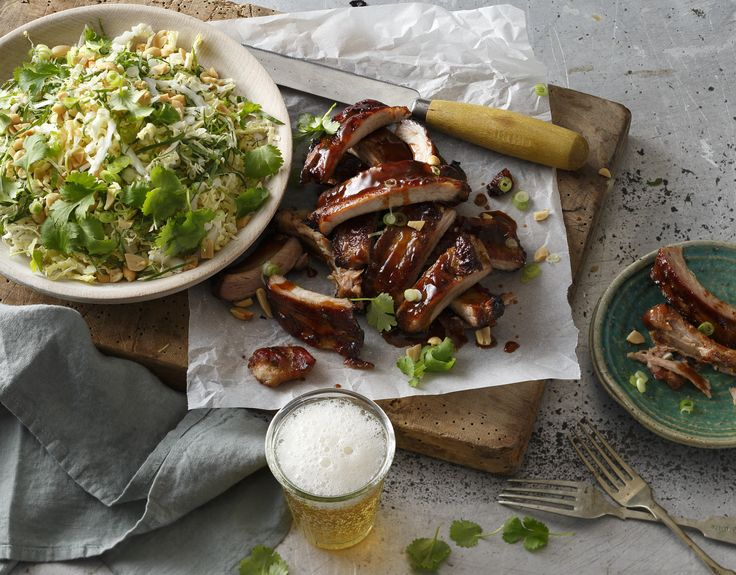 Dani Venn has created these delicious sticky hoisin pork ribs with wombok & peanut salad - perfect for entertaining.