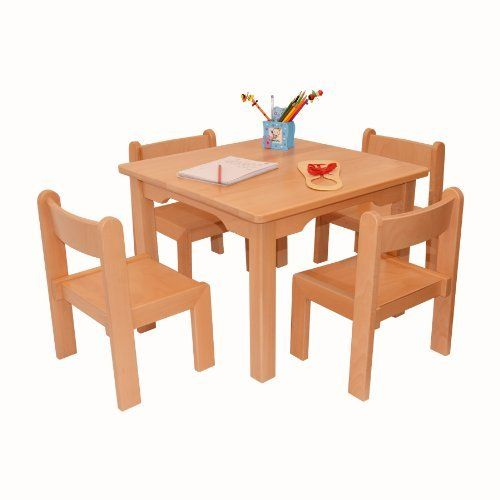 Childrens Furniture Solid Beech Wood Set Of Five One Childrenu0027s Table With  Four Childrenu0027s Chairs Without