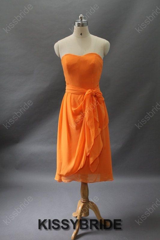 Short prom dress orange prom dress / long evening by KissyBride, $89.00