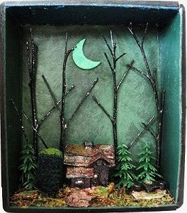 Halloween Haunted House Witch Shadow Box Gothic by fantasycrafts