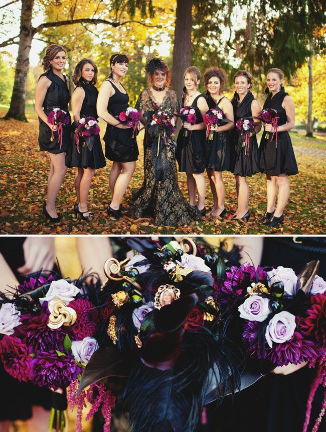 bridesmaids in black dresses with purple flowers- I would never actually have a Halloween wedding but I love this color scheme!