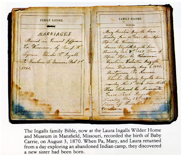 The family Bible of Charles and Caroline Ingalls, parents of Laura Ingalls Wilder, records their marriage in Jefferson County Wisconsin.