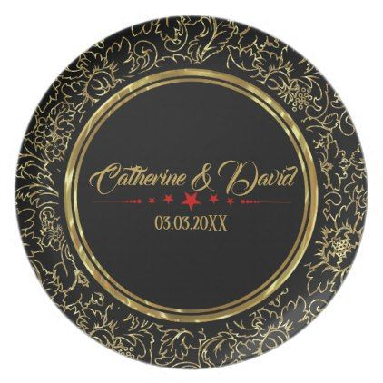 Black And Gold Floral Damasks Red Stars Melamine Plate - red gifts color style cyo diy personalize unique