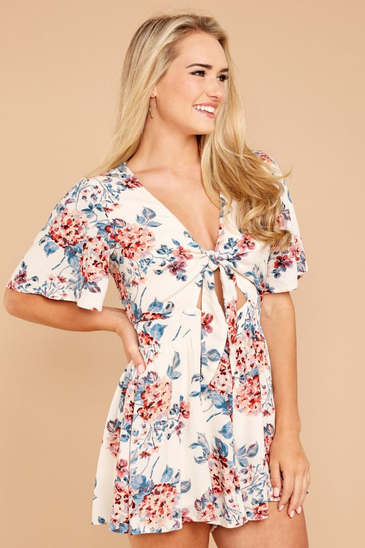 Out And About Ivory Floral Print Romper. Floral Prints, Jumpsuits, Rompers  ...
