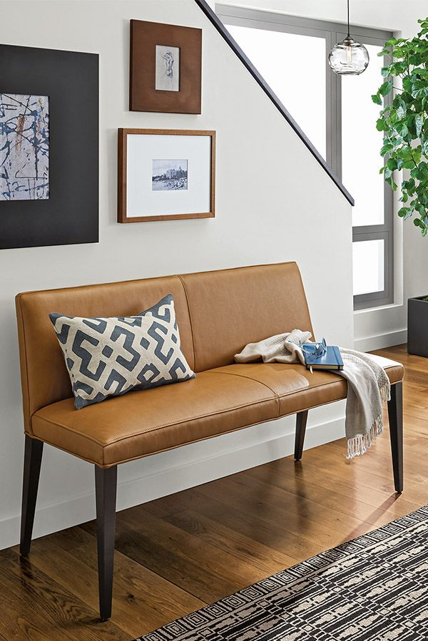 Ava Leather Bench Modern Benches Stools Modern Entryway