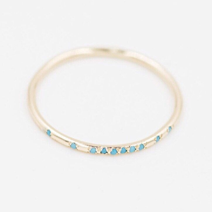 Morse Code Diamond or Turquoise Solid 14k Yellow Gold Ring Bridesmaids Gifts Skinny Thin Delicate Gold Monogram Personalized Push Gift by RockMoxie on Etsy https://www.etsy.com/listing/464772314/morse-code-diamond-or-turquoise-solid
