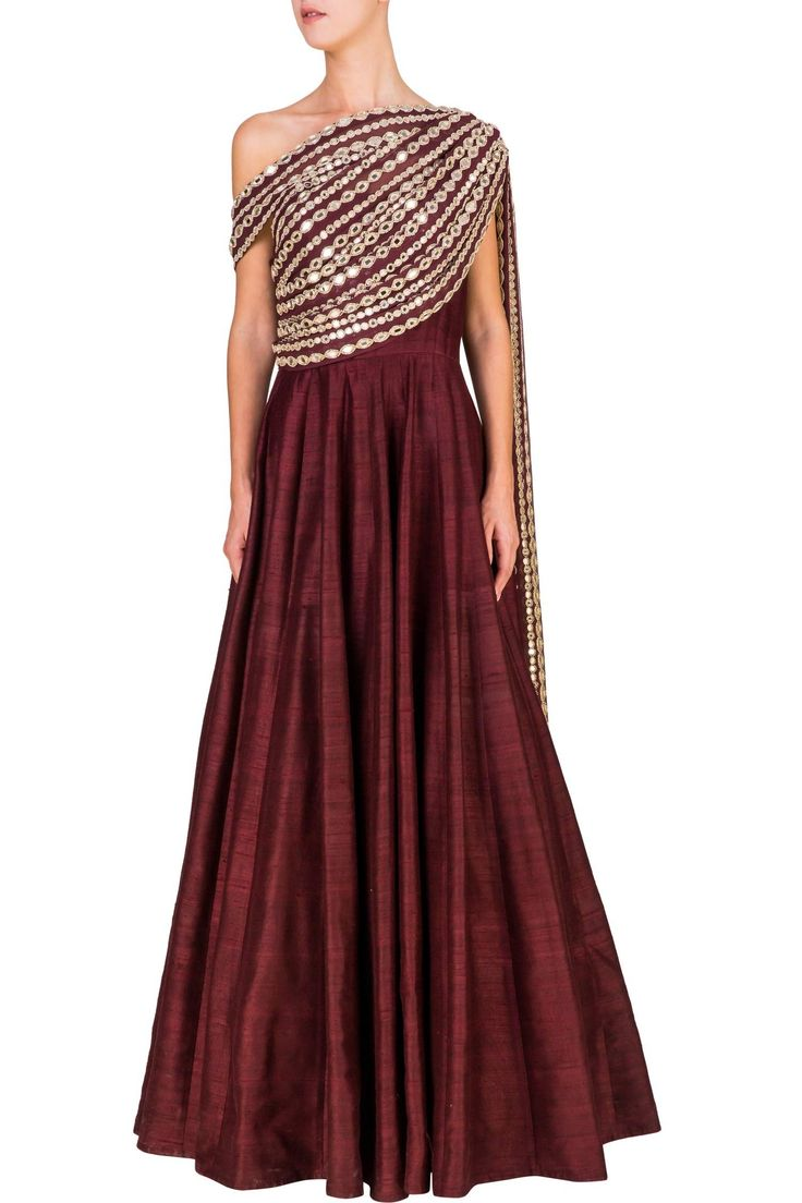Off-shoulder anarkali with mirrored dupatta