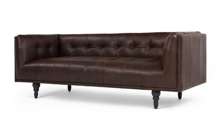 Connor 3 Seater Sofa, Vintage Brown Premium Leather | made.com