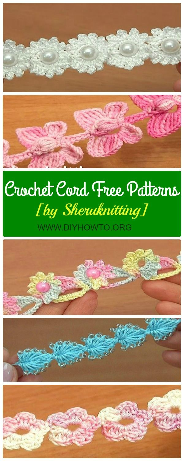 Collection of Crochet Cord Free Patterns: Flower Cord, Butterfly Cord, Heart Cord, bracelets, necklace or belts, or crochet along as drawstring closures.  via @diyhowto