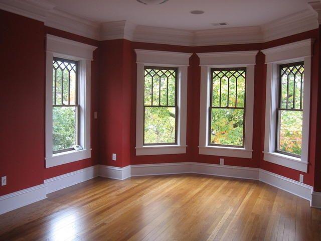 White+Windows+With+Wood+Trim | Bay window. White trim ...