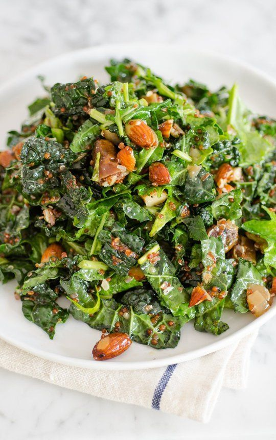 Recipe: Kale & Quinoa Salad with Dates, Almonds & Citrus Dressing Healthy Lunch Recipes from The Kitchn | The Kitchn: Almonds Citrus, Lunches Recipes, Dates, Lunch Recipes, Kale Quinoa Salad, Citrus Dresses, Kale Salad, Breakfast Recipes, Healthy Lunches