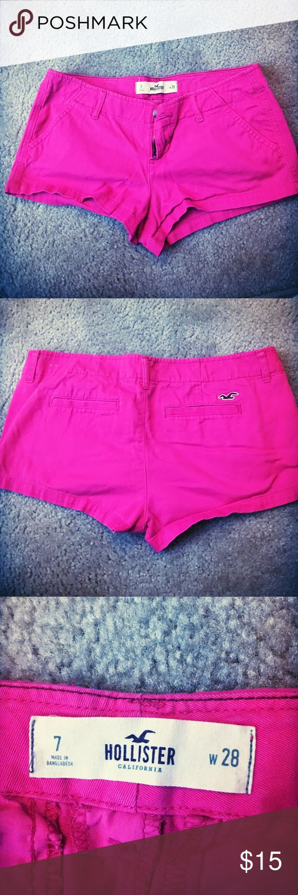 Hollister California Pink Shorts Jean like material. Mid-Rise shorts. Color is less fluorescent in person.  Machine wash cold Hollister Shorts Skorts