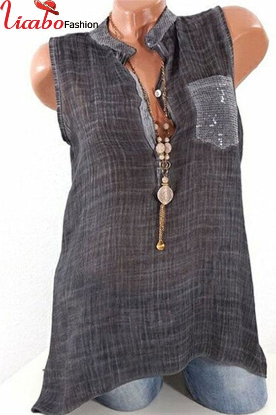 d0b7636facb77e Womens Sleeveless Shirt Blouse Loose Shirt Casual Summer Sheer Tiered  Necklace