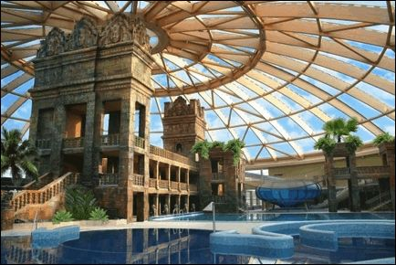 Aquaworld, located in the northern outskirts Budapest, is Central Europe's biggest indoor water theme park with 11 slides, 17 pools, surf pools, spas, baths, and private pools