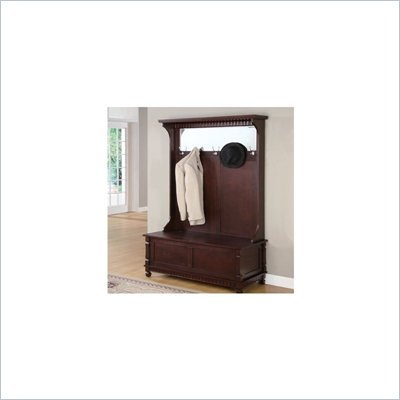 Powell Furniture Contemporary Merlot Hall Tree with Storage Bench - 383-258
