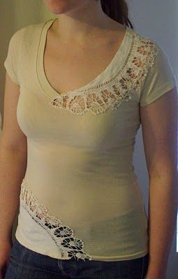 cut out the tshirt behind the lace ... really cool.Sewing, La Anthro, Clothing, Vintage Lace, Lace Applies, Refashion Tshirt, Lace Shirts, Diy, Old T Shirts
