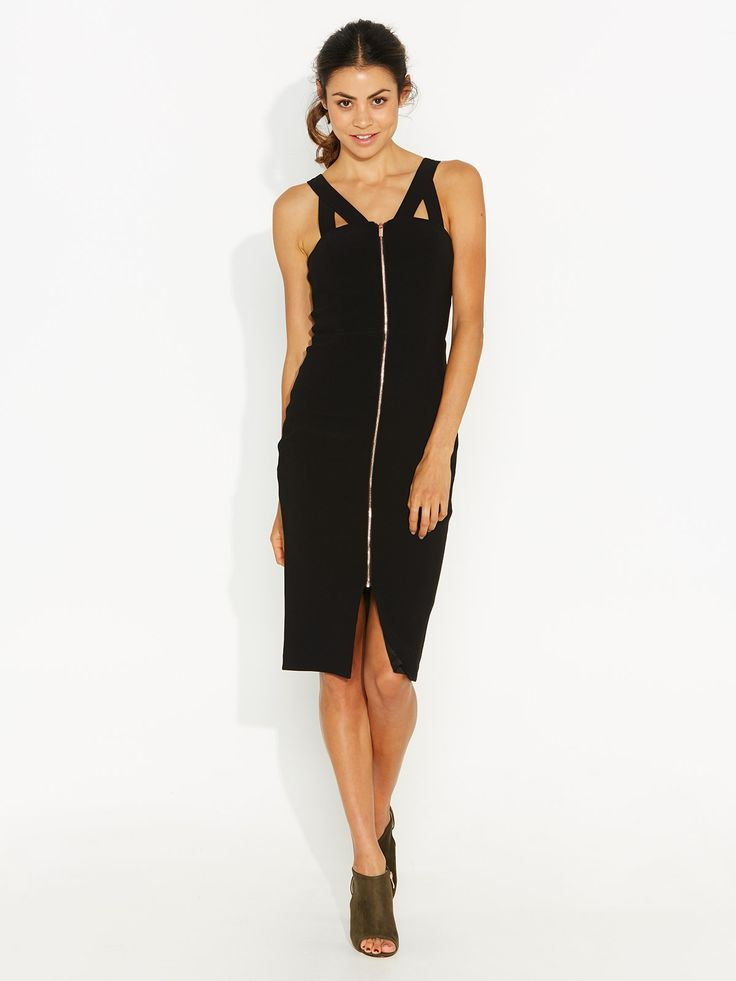 Lily Zip Front Midi Dress from Portmans