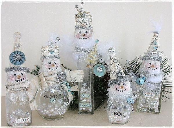 vidrio gente botella de nieve - Dos guisantes en un cubo