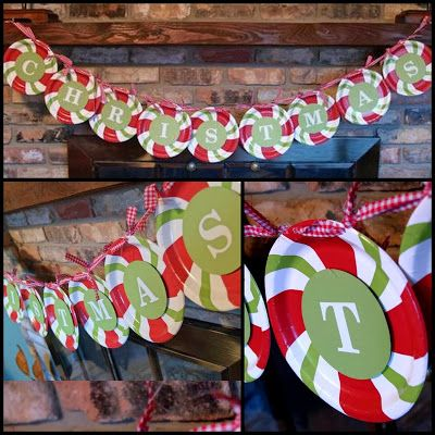 Candy Cane Themed Christmas Garland Made From Paper Plates